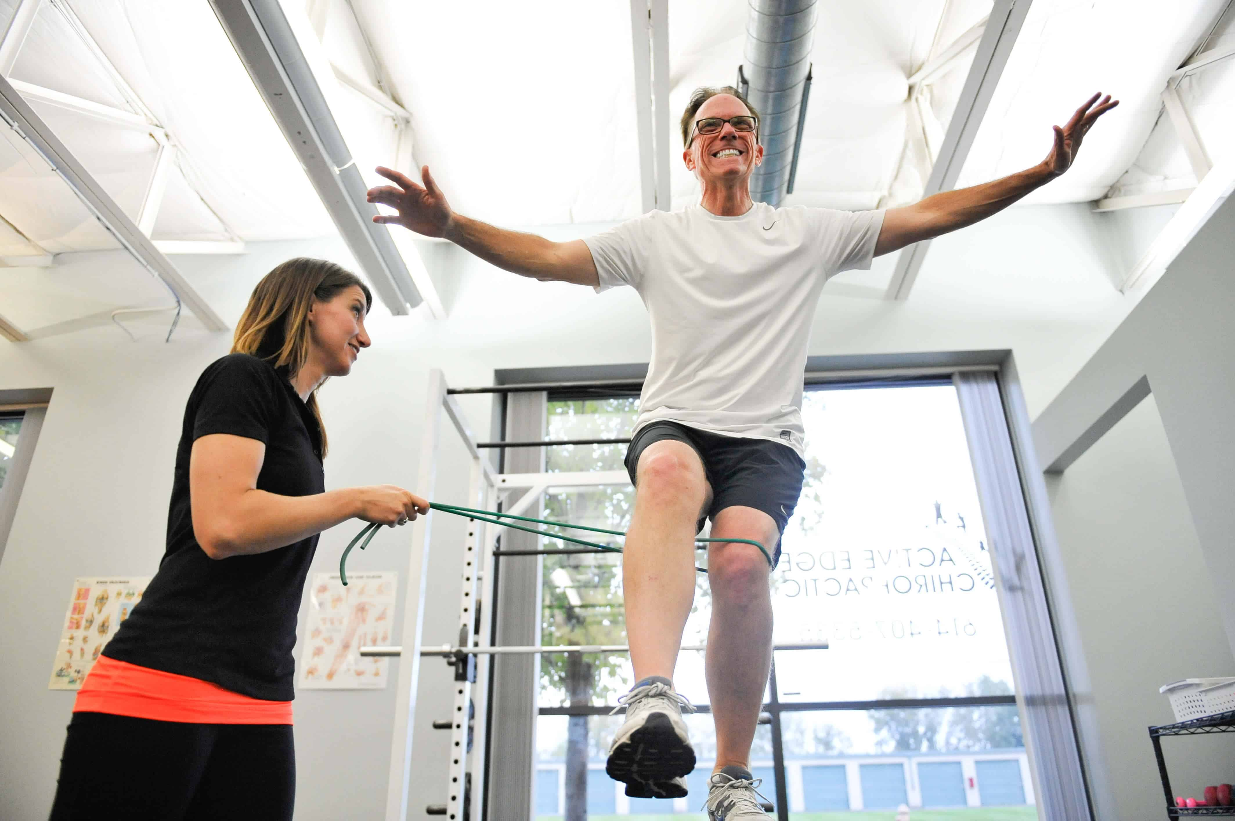 Man balancing as part of physical therapy rehabilitation