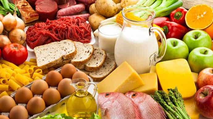 various healthy foods like eggs, fruits and vegetables